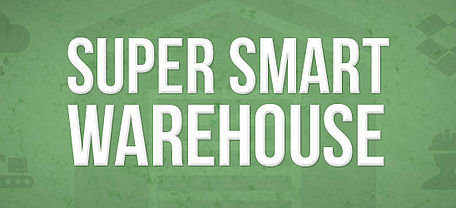 Super smart warehouse written in white text on a green background with logo's